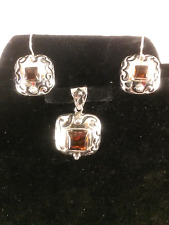 Silpada sterling scrolled amber earrings/pendant set NWOT (retired)