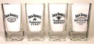 Genuine Jack Daniels Old No7 x 4 Shot Glasses Home Bar Collector Unused Rare