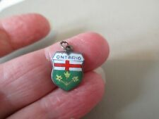 Ontario Canada Shield Fob Charm Old Vintage Reu German Enamel Epns Silver Plated