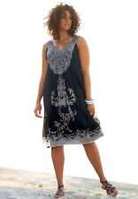 New Taillissime Women Dress 28W Plus Chiffon Black White Embellished Sleeveless