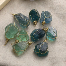 Reiki Natural Fluorite Stone Crystal Quartz Pendant Necklace Gemstone Blue Rocks