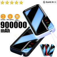 900000mAh Power Bank Portable Charger External Backup Battery Dual-USB with LED