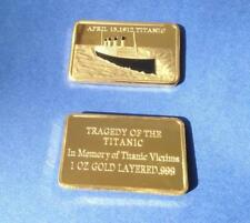 TITANIC 100th ANNIVERSARY 1 oz GOLD LAYERED INGOT and GENUINE 1912 OLD PENNY