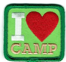 Girl Boy I LOVE CAMP green Fun Patches Crests Badges SCOUT GUIDE camper camping