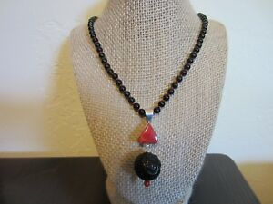 VTG Chinese Sterling Carved Onyx?Coral?Buddha Face Huge Pendant Knotted Necklace