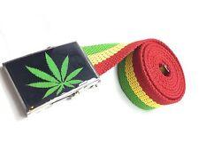 Rasta Weed Leaf Belt Rastafari Jamaica Africa Selassie Bob Marley Ganjah NEW**
