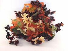 Fall Leaves Flowers & Berries CANDLE RING Wreath AUTUMN HALLOWEEN DECORATION