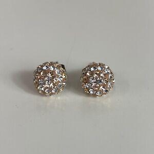 Tresor Paris Ladies Gold White Diamante Gem Jewel Cluster Ball Studded Earrings