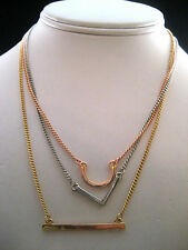 BCBGeneration Silver Gold Copper Chain Choker Necklace Metal Pendants Macy's New