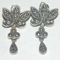 Vintage sterling silver marcasite pierced post earrings nouveau style signed NF