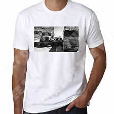 Convoy Scene Police Car getting crushed trucking mens T shirt
