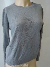 da donna Grigio maglia maglioncino UK 8 EU 36