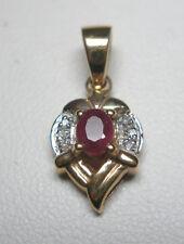 14kt Original Rubí y Diamante Colgante Corazón