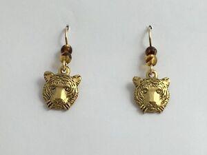 Gold tone Pewter & 14k GF Tiger face dangle earrings-Tigers, head, big cat, cats