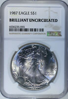 1987 Silver American Eagle $1 / NGC Brilliant Uncirculated 🇺🇸 Actual Coin 5055