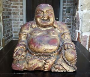 Chinese Carved Lacquered and Gilded Wood Seated Hotei Happy Buddha