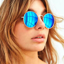 Retro Style Round Oval Women Sunglasses Metal Frame Mirrored Lens Reflective
