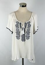 LEE COOPER Womans Top Blouse Size 14 White Crinkle Embroidered Peasant Boho S/S