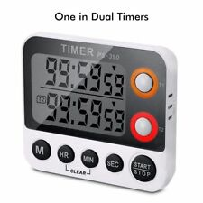LCD Digital Kitchen Timer Dual Count Down Up Loud Alarm Clock with Magnet Hanger