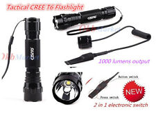 CISNO Tactical Hunting Flashlight Torch T6 LED 1000LM w/Remote Pressure Switch