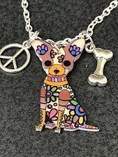 "60's Dog Chihuahua Boho Charm Tibetan Silver 18"" Necklace D235"