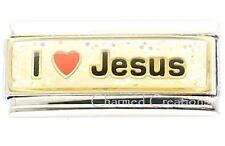 I Love Jesus Glitter Superlink For 9mm Italian Charm Bracelets Heart Link God