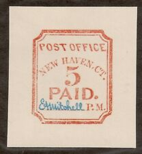 US #8Xu1 (1845) 5c-New Haven, Conn.{Postmaster Provisional} Bklt reprint of 1932