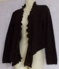 LADIES LOVELL Dk brown frill trim assymetric hem  cardigan/ jacket SIZE 10
