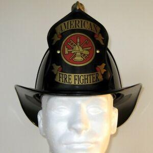 "Traditional ""American Firefighter"" Texaco Style Helmet - Black"