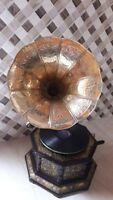 HMVGramophone Brass Crafted Base Horn Vintage Look WORKING SOUND BOX NEEDLE SET