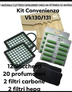 SACCHETTI FOLLETTO Vk130/131 + 20 PROFUMI+ 4 FILTRI KIT Qualità Top
