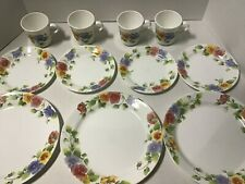 New Listing11 Pieces of Corning Corelle Summer Blush 00006000  Pattern Pansies Plates & Mugs