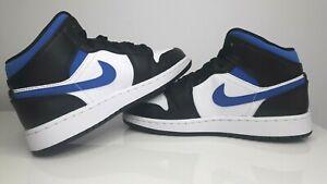 Nike Air Jordan 1 Mid White Racer Blue Black GS 554725-140 Size us4Y WMNS us5.5