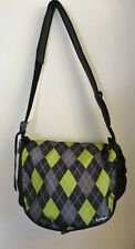 LL Bean Green, Black, Gray Plaid Messenger / Carry On / Duffel Bag Many Pockets