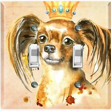 Metal Light Switch Cover Wall Plate Show Dog Queen Crown Beige DOG017