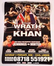 Amir Khan v Gairy St Clair Signed 2008 Poster Boxing Autograph Wrath Of Khan