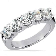 "2.50 carat band 5 Round Diamond Anniversary ""U"" shape Ring 0.50 ct each G Si1"