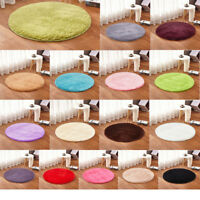 Large Medium Small Soft Plain Fluffy Pad Non-slip Rug Carpet Mat Circle Round FS