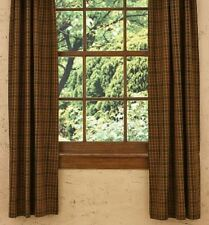 Primitive Spice Lined Panel Curtains 72WX63L Mustard Rust Black Green Plaid