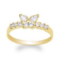 JamesJenny Womens 14K Yellow Gold Butterfly Shaped Band Ring Size 4-10