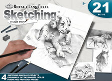 ROYAL LANGNICKEL Sketching Made Easy 21pc Gift Set 4 Designs Horses Dogs Animals