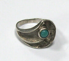 7 Green Stone 3,55 g Ussr Vintage Ring Silver 925 star stamp Size