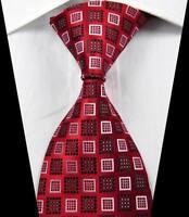 New Classic Patterns Red Black White JACQUARD WOVEN 100% Silk Men's Tie Necktie