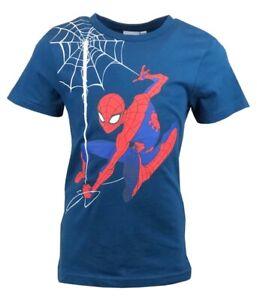Boys Kids Children SPIDERMAN Short Sleeve T Shirt Top 100% Cotton Ages 2-8