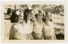 Vintage Hawaii Photograph 1940s Hawaiian Hula Dancers Pretty Girls Sharp Photo