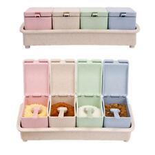 4 Spice Jar Condiment Storage Shaker Seasoning Bottle Container Kitchen Food Box