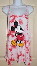 New Juniors size Large 11-13 Mickey Mouse Tank Top Tie Dye White Red Disney cami