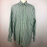 Peter Millar Green Multicolor Striped Oxford Button Down Shirt LS Mens Size XL