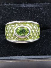 Sterling Silver Peridot & Green Enamel Ring Size 7