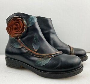 SOCOFY Women Ladies Handmade Soft Black Leather Ankle Boots size  UK 8 - EU 41